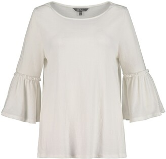 Ulla Popken Round Neck Blouse with Ruffled 3/4 Length Sleeves