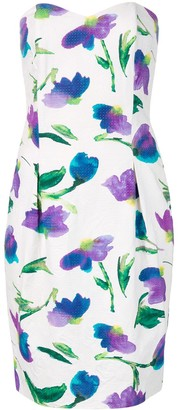 Christian Dior Pre-Owned Strapless Floral Print Dress