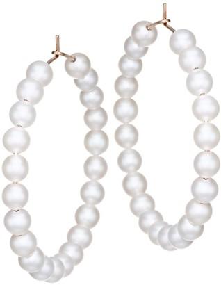 ginette_ny Maria 18K Rose Gold & 6MM White Pearl Beaded Hoop Earrings