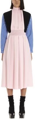Prada Pleated Patchwork Midi Dress
