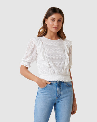 Forever New Olivia Lace Trim Ruffle Crop