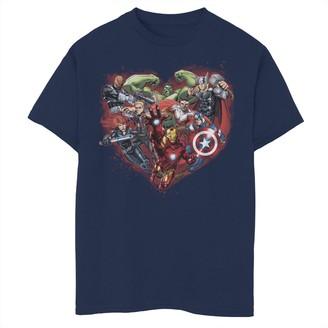 Marvel Boys 8-20 Avengers Heart Group Shot Valentine Tee