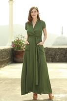 Shabby Apple Pine Cross Tie Maxi Dress Green