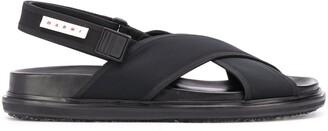 Marni Logo Tab Crossover Strap Sandals