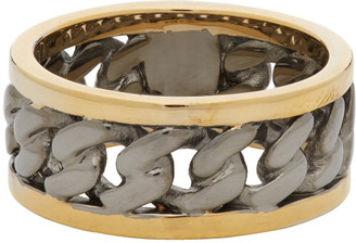 Alexander McQueen Gold and Gunmetal Bi-Color Chain Ring