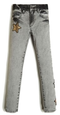 GUESS Big Girl's Stretch Comfort Denim 5 Pocket Jean with Star Appliques