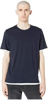 Vince Double Layer Short Sleeve Crew Neck Tee (Heather Grey/Optic White) Men's Clothing