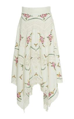 Zimmermann Allia Cross-Stitch Linen Midi Skirt