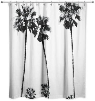 Ddcg Black and White Palm Trees Shower Curtain