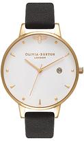 Olivia Burton OB16AM86 Women's Queen Bee Leather Strap Watch, Black/Gold