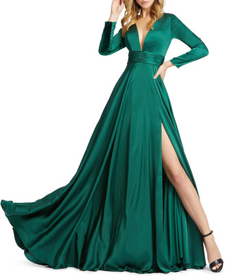 Mac Duggal V-Neck Long-Sleeve Satin Thigh-Slit Gown