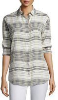 Lafayette 148 New York Sabira Long-Sleeve Serene Plaid Blouse, Multi Pattern