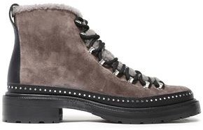 Rag & Bone Compass Studded Shearling-trimmed Suede Ankle Boots