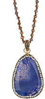 Natasha Accessories Long Beaded Medium Pave Pendant Necklace