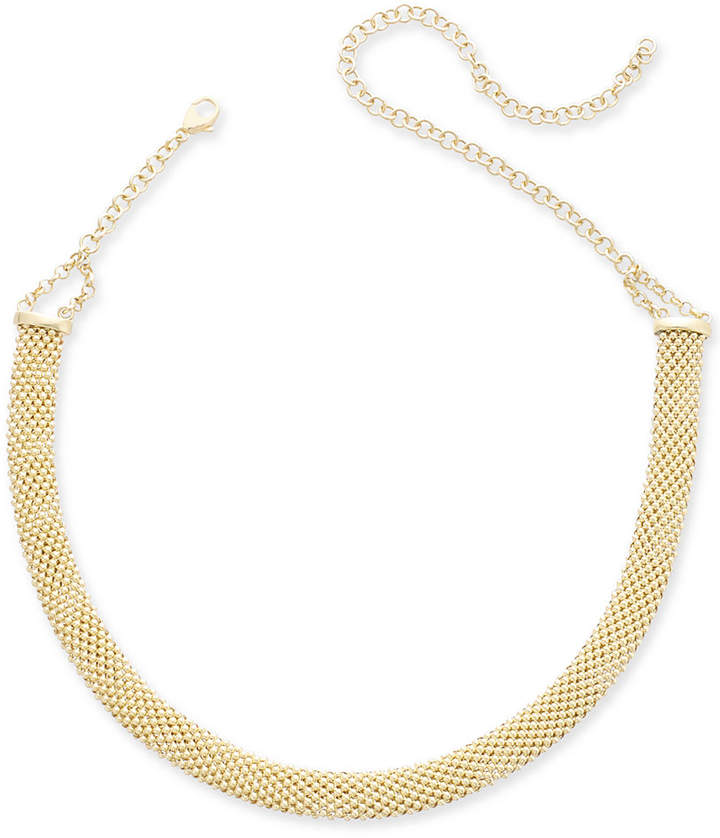 35979249288ea Popcorn Mesh Link Choker Necklace in 14k Gold-Plated Sterling Silver, 13