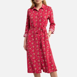 Anne Weyburn Floral Midi Shirt Dress with Long Sleeves