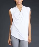 Zobha Bright White Asymmetric Drape-Front Vest