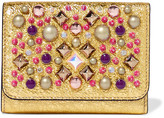 Christian Louboutin Macaron Embellished Metallic Cracked-leather Wallet - Gold