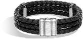John Hardy Men's Chain Triple Row Bracelet in Hammered Sterling Silver, Leather