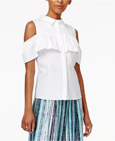 Bar III Ruffled Cold-Shoulder Blouse, Only at Macy's
