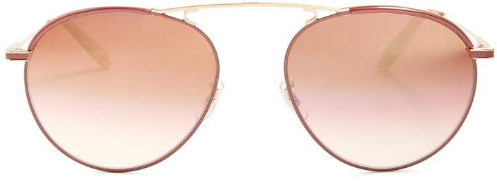 Garrett Leight Innes 55 aviator metal sunglasses