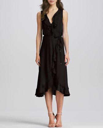 Haute Hippie Sleeveless Ruffled Silk Dress