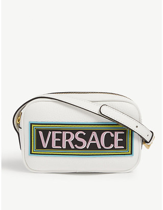 Versace Kids logo-print leather camera bag