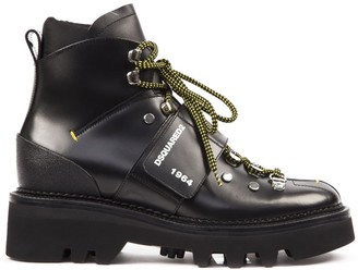 DSQUARED2 Black Hector Leather Army Boot