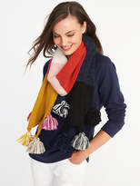 Old Navy Color-Blocked Pom-Pom Scarf for Women