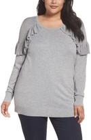 Sejour Plus Size Women's Ruffle Sleeve Sweater