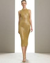 Michael Kors Cashmere Beaded Pointelle Sheath Dress