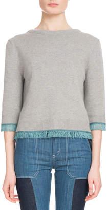 Chloé 3/4-Sleeve Scoop-Back Cashmere Sweater w/ Fringe Hem