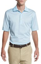 Peter Millar Callicut Dot-Stripe Short-Sleeve Polo Shirt, Light Blue