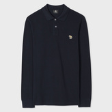 Paul Smith Men's Navy Organic-Cotton Zebra Logo Long-Sleeve Polo Shirt