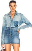 Saint Laurent Oversized Denim Shirt in Blue.