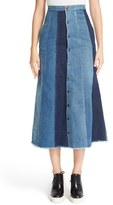 Saint Laurent Women's Patchwork Denim Midi Skirt