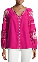 Tory Burch Theresa Hibiscus-Embroidered Cotton Tunic, Bright Pink