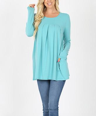 Ash Zenana Women's Tunics  Mint Pleat-Front Long-Sleeve Tunic - Women