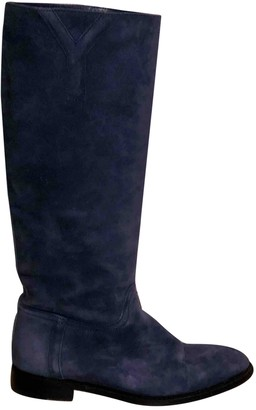 Saint Laurent Navy Suede Boots
