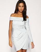 ASOS One Sleeve Off The Shoulder Slinky Dress