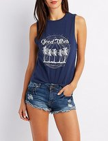 Charlotte Russe Good Vibes Graphic Muscle Tee