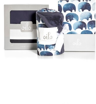 Oilo Elephant Cuddle Blanket, Crib Skirt & Crib Sheet Set