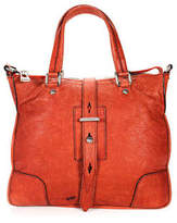 Belstaff Orange Leather Silver Tone Hardware Double Handle Crossbody Handbag