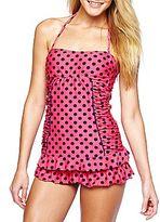 Arizona Pink Dot Ruffled Tankini Swim Top or Bottoms