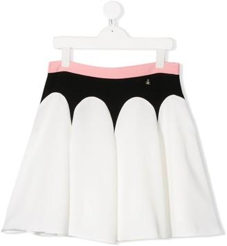 Elisabetta Franchi La Mia Bambina Colour Block Pleated Skirt
