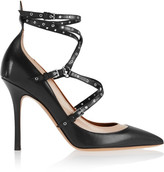 Valentino Love Latch Eyelet-embellished Leather Pumps - Black