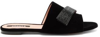 Rochas Stud-applique Velvet Slides - Black