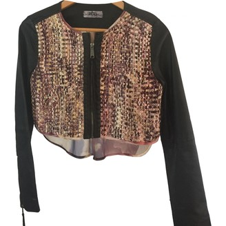 Diesel Black Gold Multicolour Glitter Leather Jacket for Women