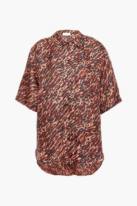 Sandro Evie Leopard-print Silk-twill Shirt