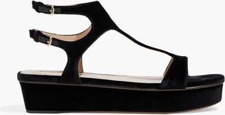 Valentino Cutout Velvet Platform Sandals